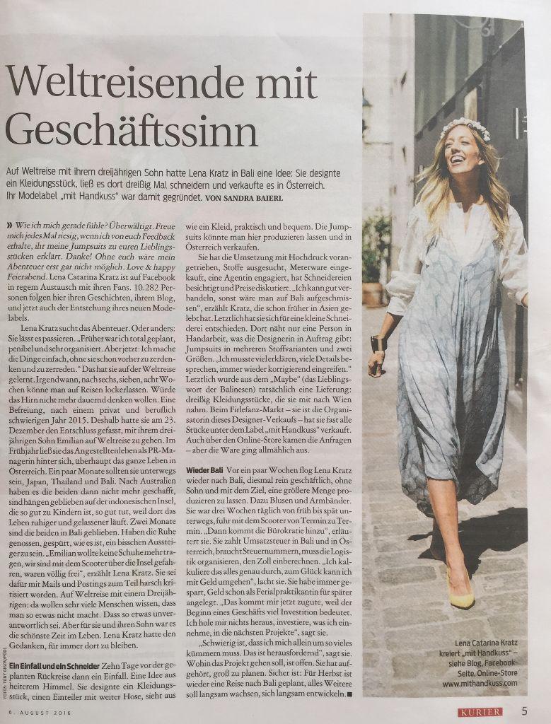 mit Handkuss - Kurier - Interview